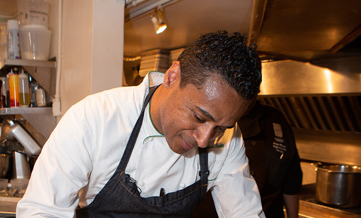 Chris Scott in the Beard House kitchen photo by Clay Williams