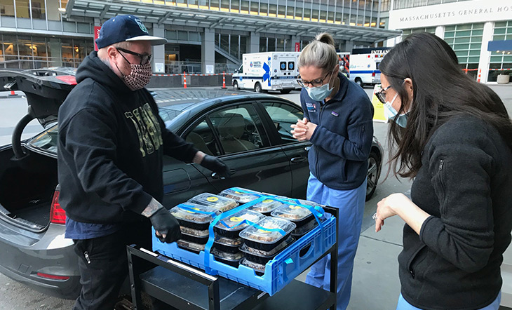 Jamie Bissonette delivering meals to hospital workers photo courtesy Off Their Plate