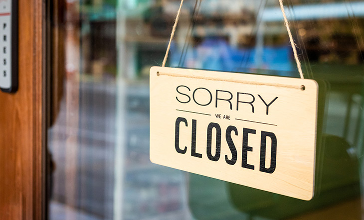Restaurant closed sign Getty Images