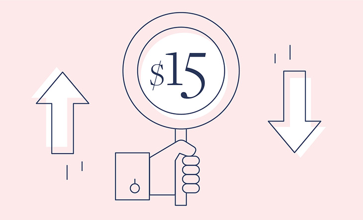 Graphic on a pink background of a hand holding a circular sign that says $15, next to the hand is an arrow pointing up on the left, and an arrow pointing down on the right side