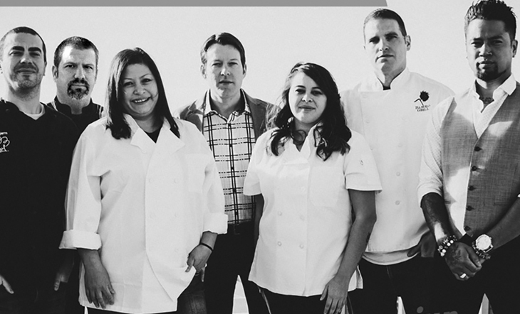 Left to Right: John DePierro, Kevin Morrison, Dana Rodriguez, Wine Director Ryan Fletter, Pastry Chef Alicia Luther, Darrel Truett, and Mixologist Gerard Collier