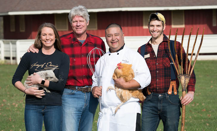 From R to L: Rancher's Daughter Hilary Eshelman, Rancher/Owner Pete Eshelman, Marcus Daniel, and Gardener Andrew Balabuch