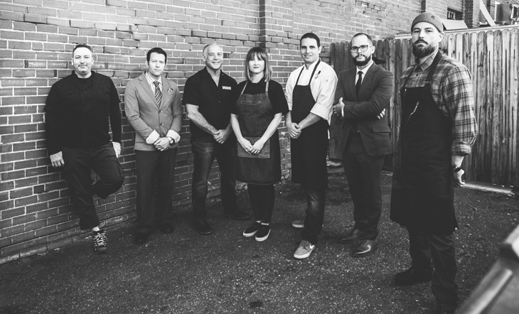 From left to right: Sushi Chef Elan Wenzel, Owner/Wine Director Ryan Fletter, Mark Dym, Pastry Chef Samm Sherman, Darrel Truett, Steven Waters, Duane Walker