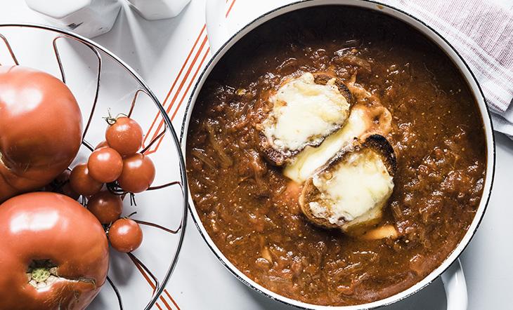 Caramelized Onion–Tomato Soup